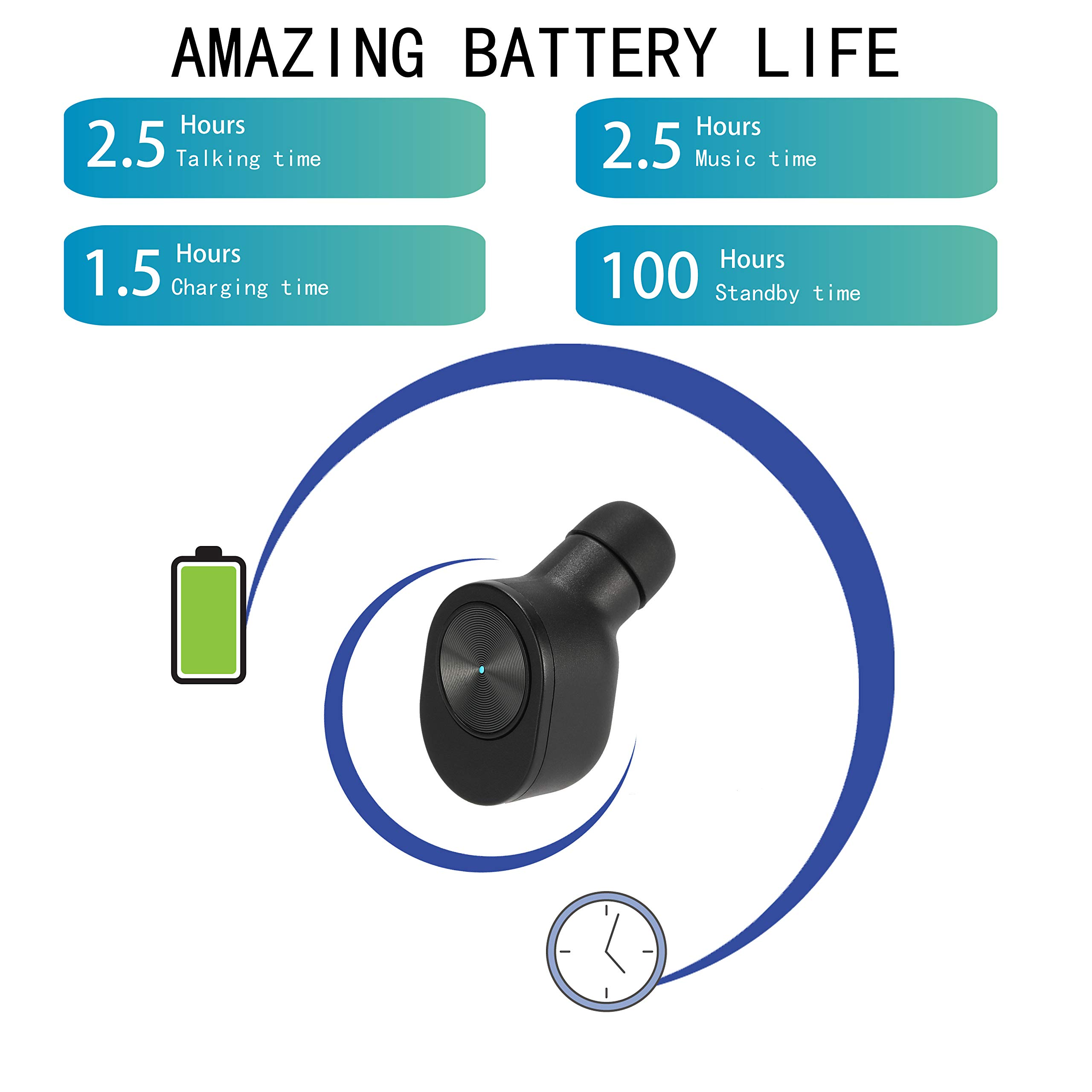 Wireless Headphones, Bluetooth Headphones, Bluetooth Earphones In-Ear Earbuds with Deep Bass Stereo Sound  Bluetooth 4.2 Mini TWS Wireless Headset, Sport Earphone with Portable Charging Case (Small)