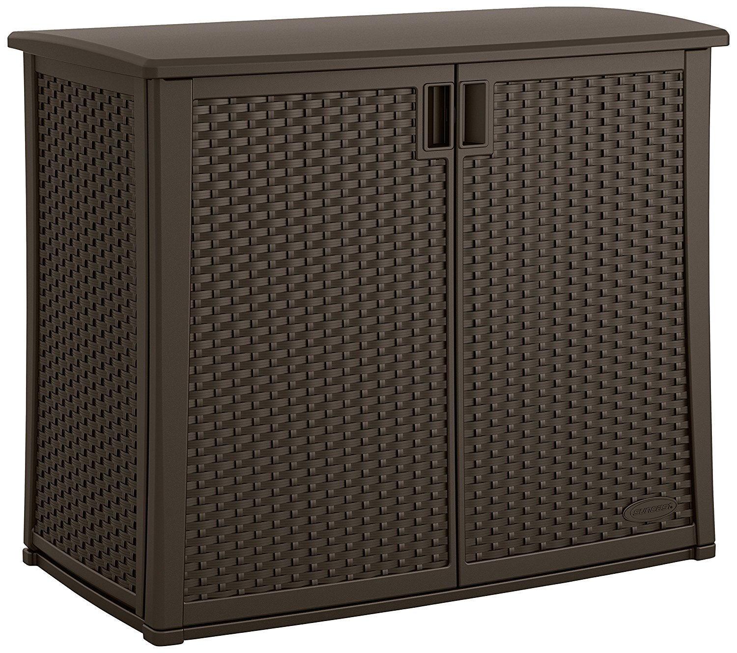 Top Selling Highest Quality Dark Brown 97 Gallon Double Wide Doors Two Large Storage Shelves Organizers- Beautiful Rattan Wicker Finish Water Resistant Roomy Durable- Perfect For Deck Garden Porch