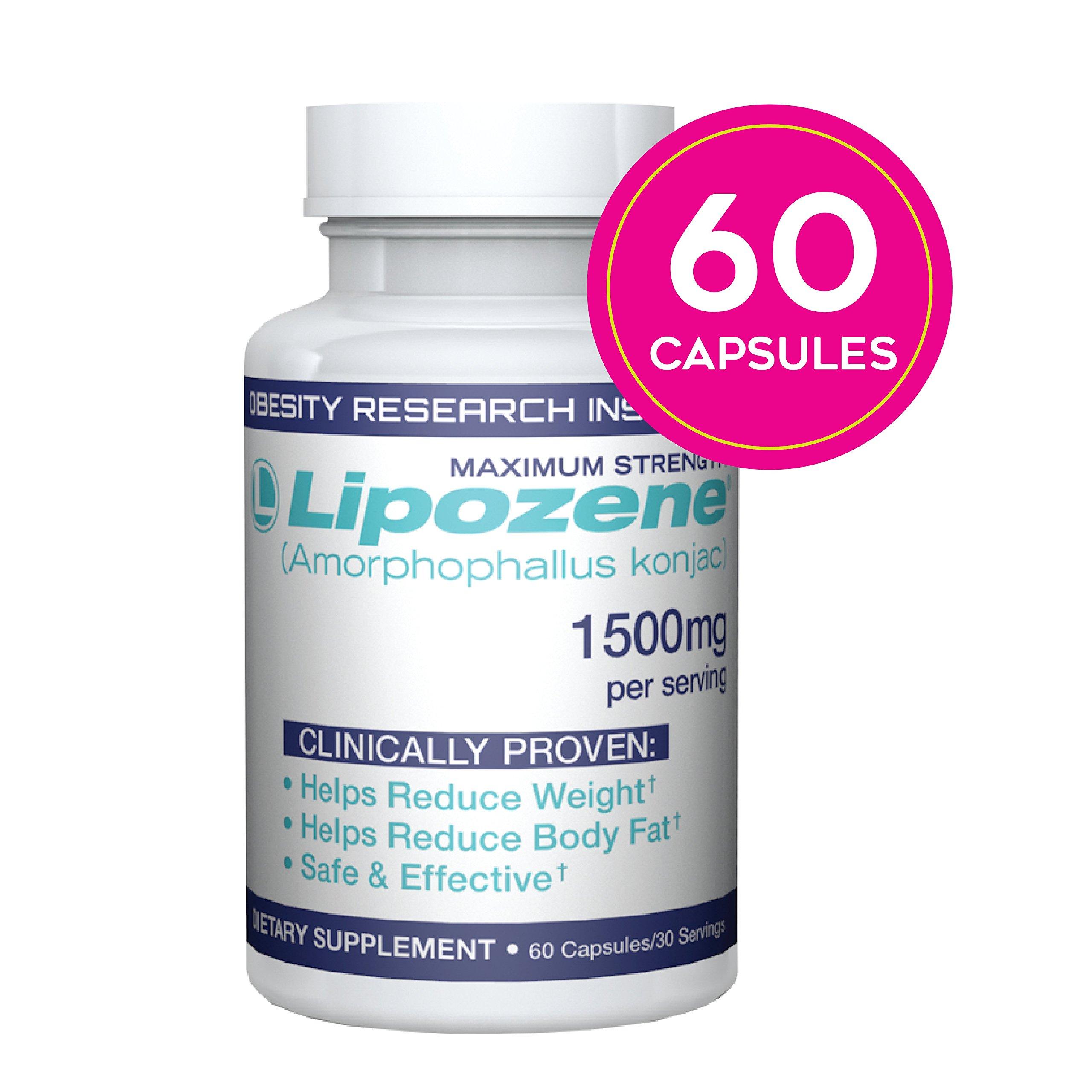 Lipozene Diet Pills - Weight Loss Supplement - Appetite Suppressant and Control - 60 Capsules - No Stimulants No Jitters by Lipozene