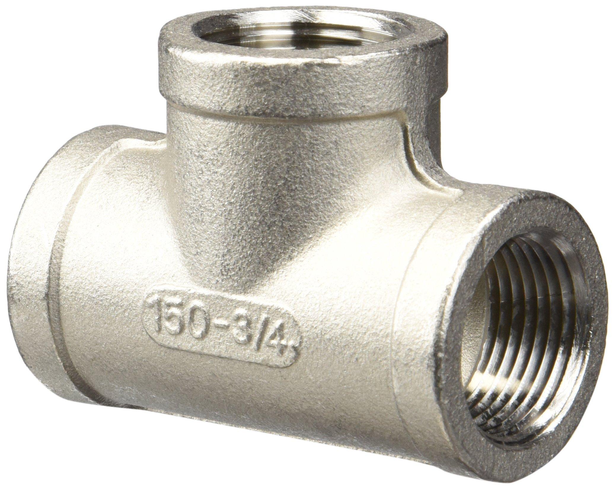 Merit Brass K606-12 Stainless Steel 316 Cast Pipe Fitting, Tee, Class 150, 3/4'' NPT Female (Pack of 25)