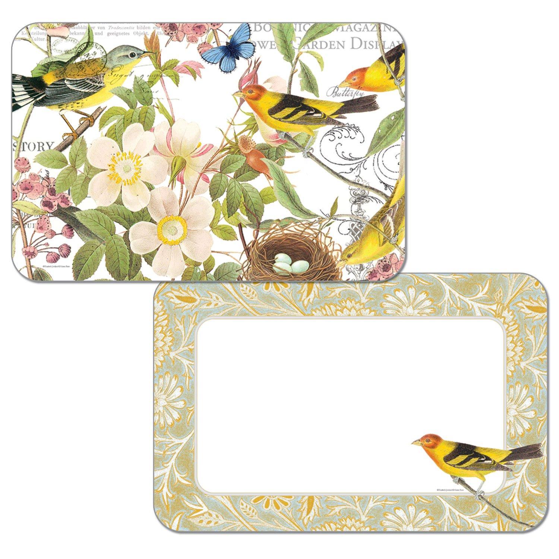 Botanical pájaros Reversible vinilo manteles individuales juego de cuatro