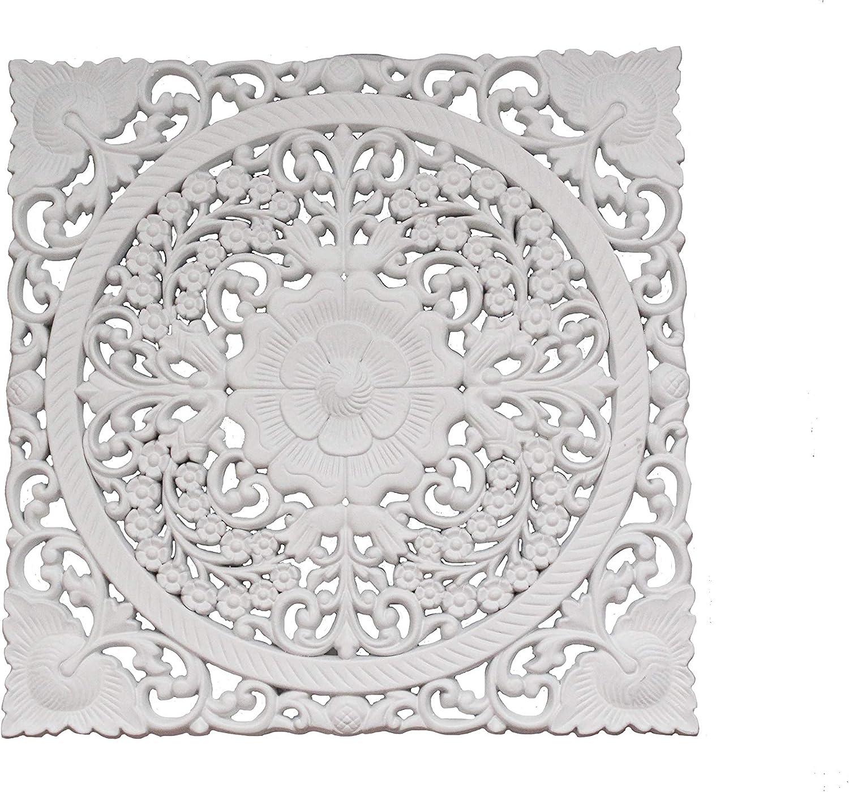DRW Mandala Madera Calado Cuadrado (Blanco Calado)