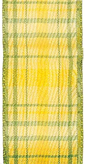 product image for Offray, Yellow & Green Wired Edge Duncan Craft Ribbon, 1 1/2-Inch x 9-Feet