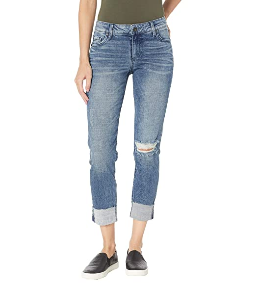 KUT from the Kloth Womens Catherine Boyfriend Wide Cuff Jeans w/Raw Hem in Suffused w/Medium Base Wash