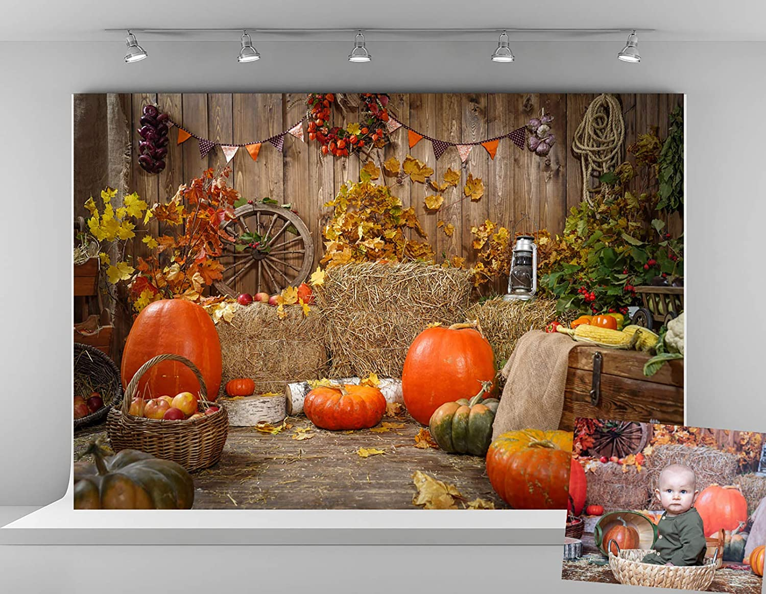 Kate 7x5ft Microfiber Thanksgiving Gifts Backdrops for Photography Halloween Pumpkin Backgrounds Autumn Haystack Decoration Backdrop Rustic Wood Wall Photo Background