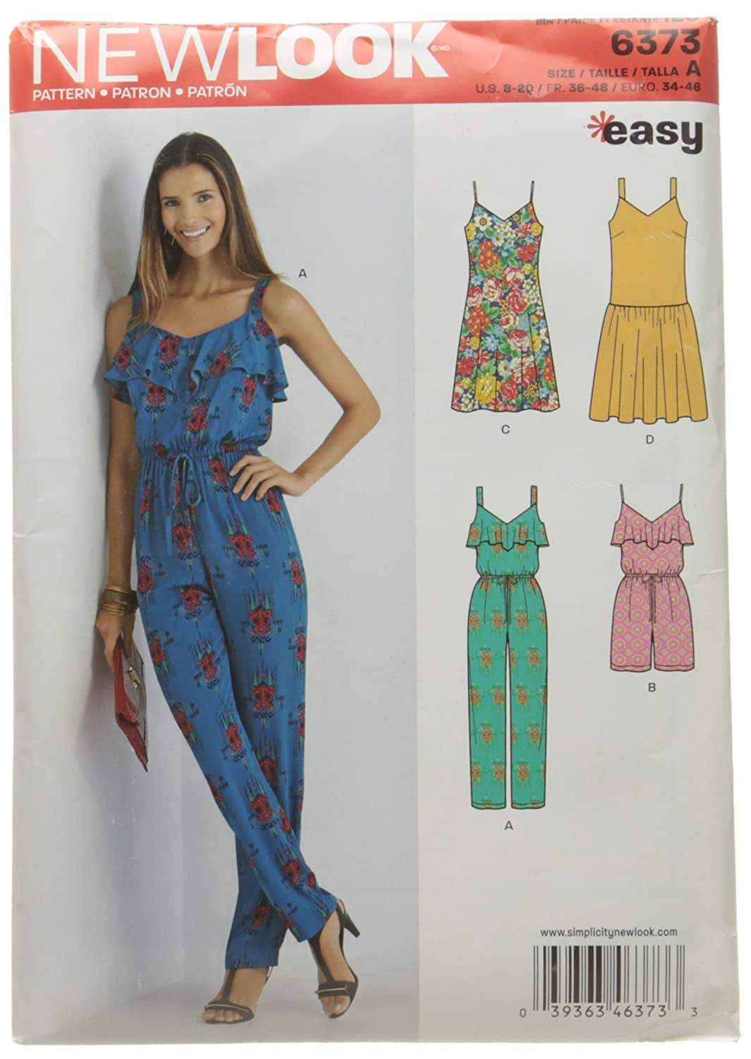 Size A New Look 6373 Misses Jumpsuit or Romper and Dresses Sewing Kit 8-10-12-14-16-18-20