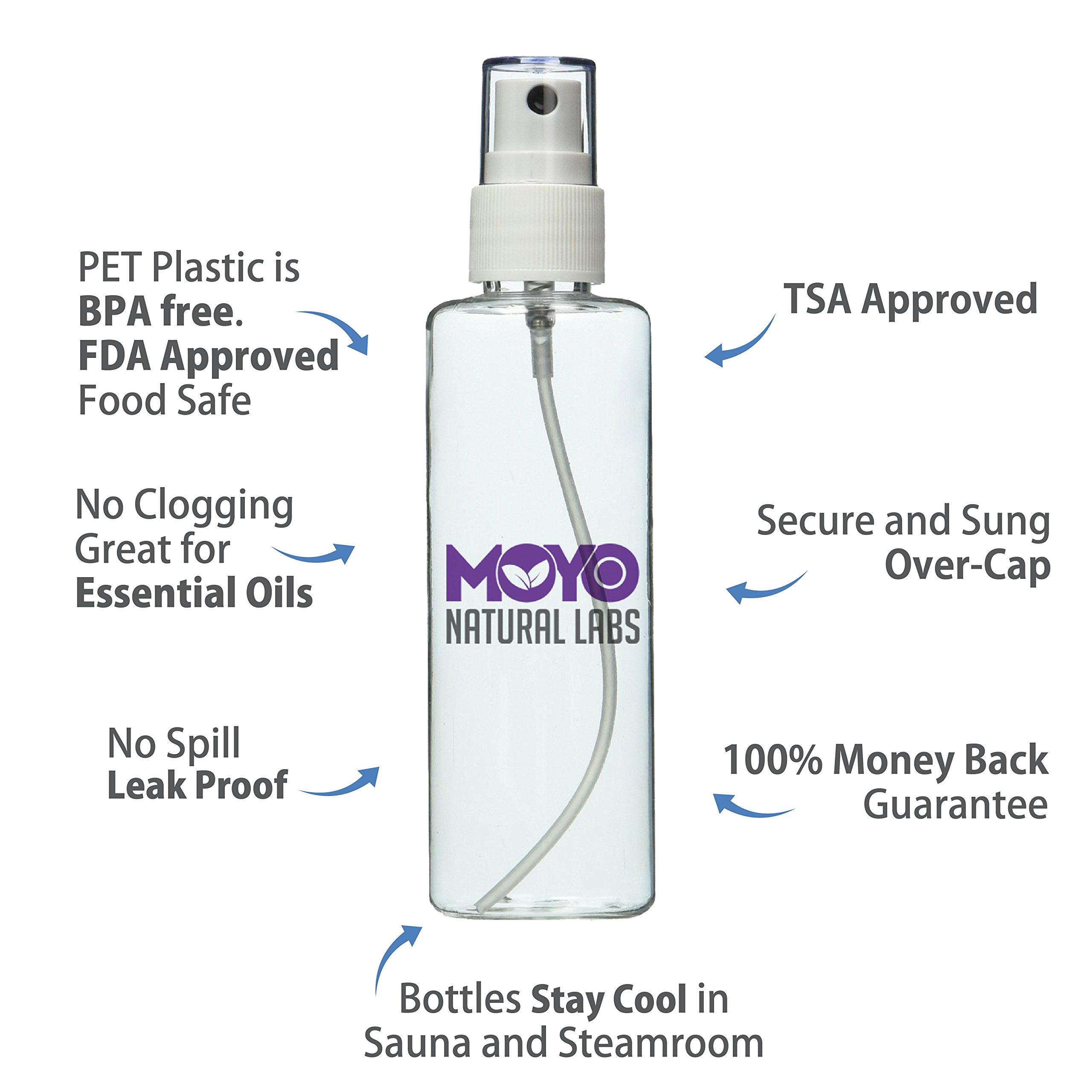 MoYo Natural Labs Large Durable Fine Mist Pump Sprayers 3.4 oz Travel Bottle Pump Sprayer Set quantity 3 BPA by MoYo Natural Labs (Image #3)