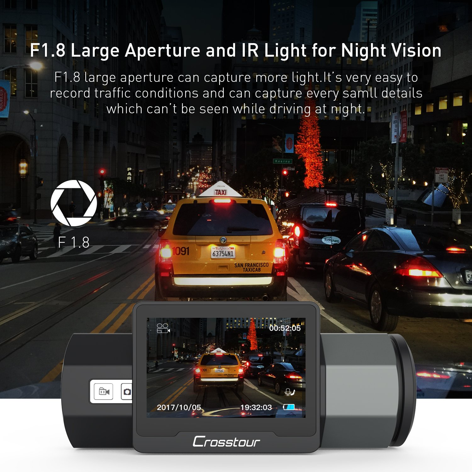 Crosstour Dash Cam 1080P FHD DVR Car Dashboard Camera Video Recorder for Cars 170° Wide Angle WDR with 2 inch LCD, Night Vision,Motion Detection, Loop Recording and G-Sensor by Crosstour (Image #3)