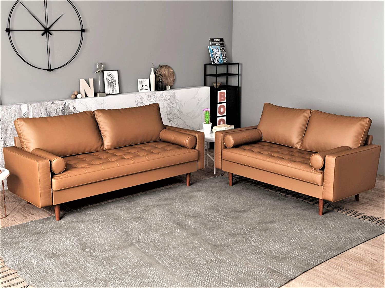 Container Furniture Direct Orion Mid Century Modern Faux Leather Upholstered Sofa Loveseat Set with Bolster Pillows, Brown