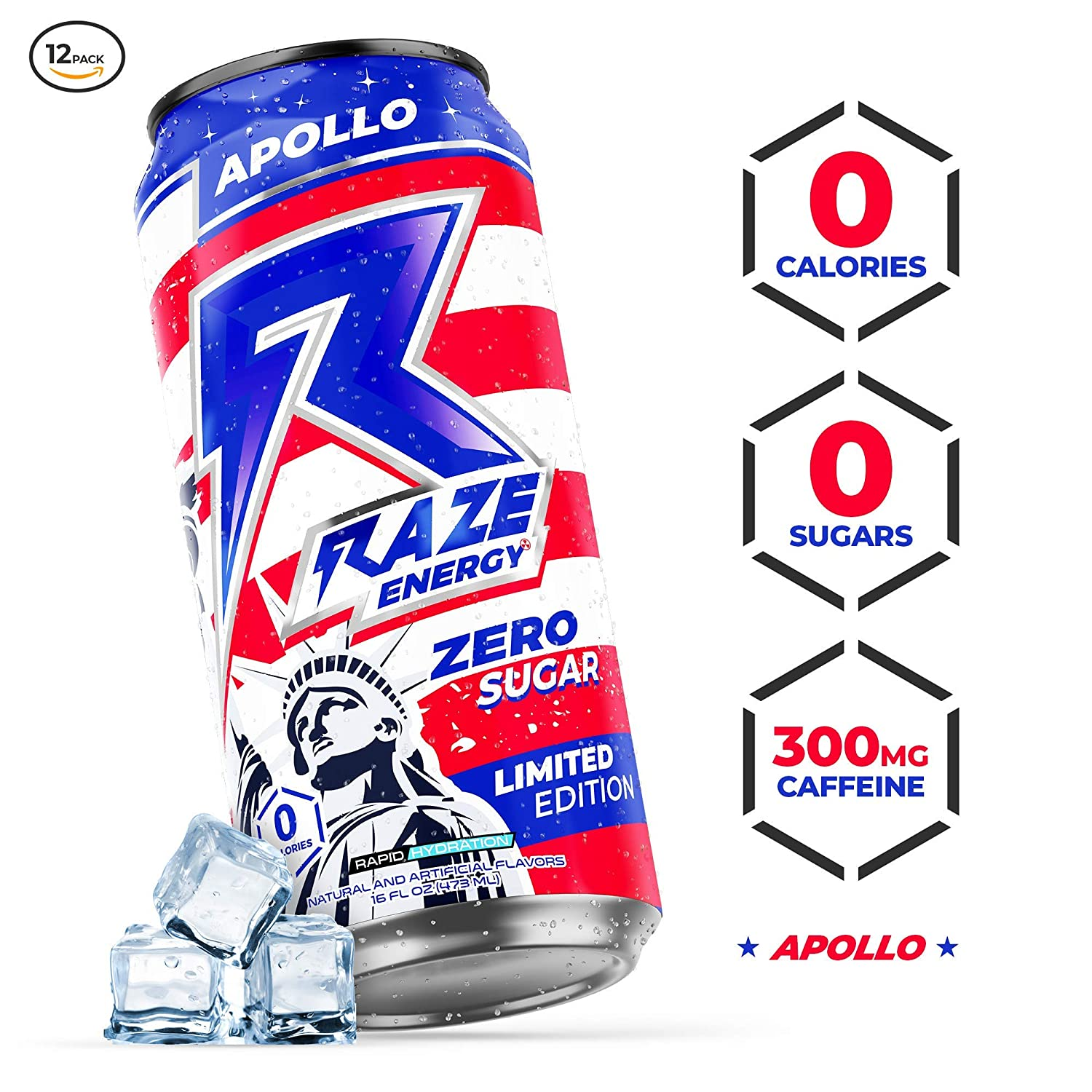 Raze Energy Drink | Performance and Hydration | Sugar Free, Zero Calorie Energy Drink - Apollo 12 Pack