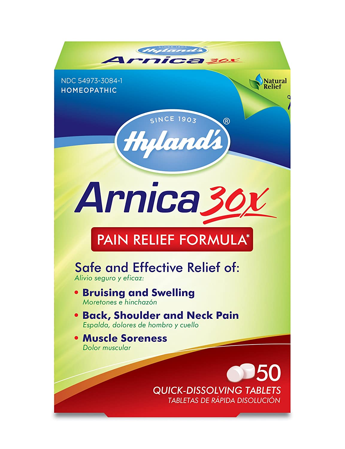 Arnica Montana 30x Tablets by Hyland's, Natural Relief of Bruises, Swelling and Muscle Soreness, 50 Count: Beauty