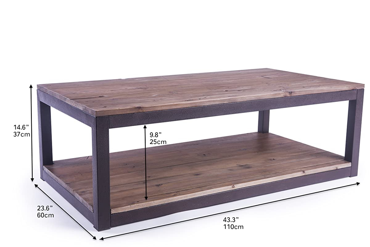 "Care Royal Rustic Vintage Industrial Solid Wood and Metal 43.3"" Coffee Table Antique Cocktail Table with Storage Shelf for Living Room, Natural Reclaimed Wood, Sturdy Rustic Brown Metal Frame"