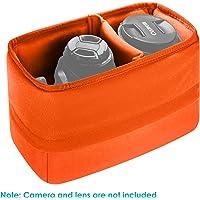 Neewer Shockproof Storage Camera Bag Foldable Padded Partition Insert Protective Bag for Sony Canon Nikon DSLR Shot or Flash Light (Orange)