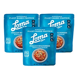 Loma Linda Blue - Plant-Based Complete Meal Solution - Heat & Eat Italian Bolognese with Konjac Noodles (10 oz.) (Pack of 3) - Non-GMO