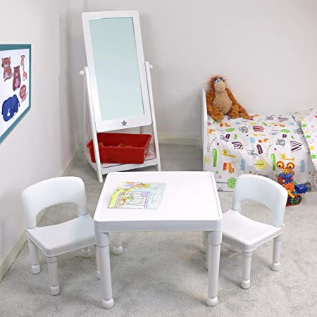 Liberty House Toys Childrens Plastic Table and Chairs Set. Juego de Mesa Dos sillas, Blanco, 51cm H x 43.5cm W x 51cm D: Amazon.es: Juguetes y juegos