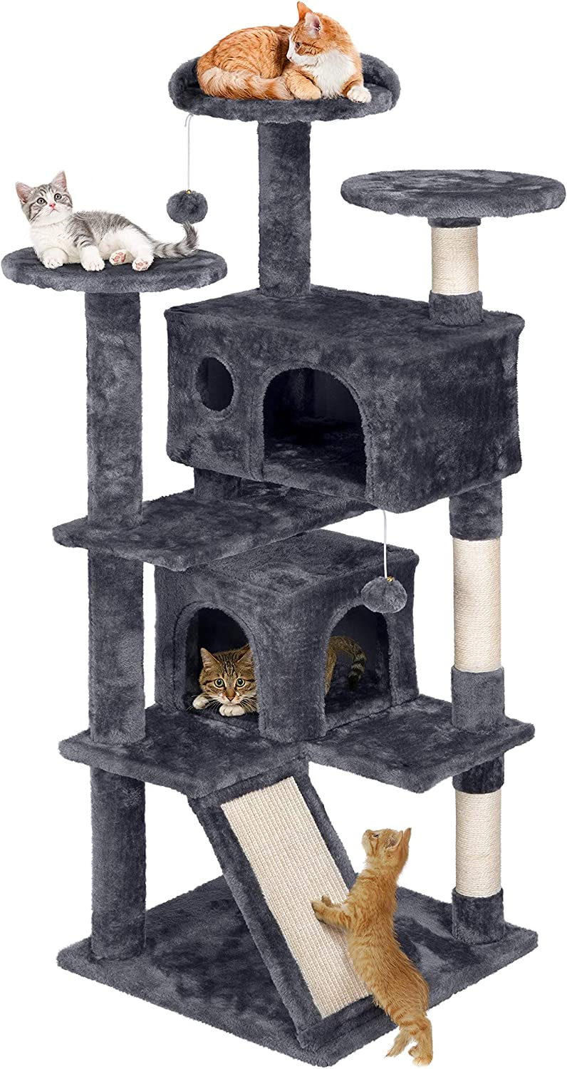 Amazon Com Yaheetech 54 Inches Cat Tree Pet Furniture Play House For Kittens Pet Supplies