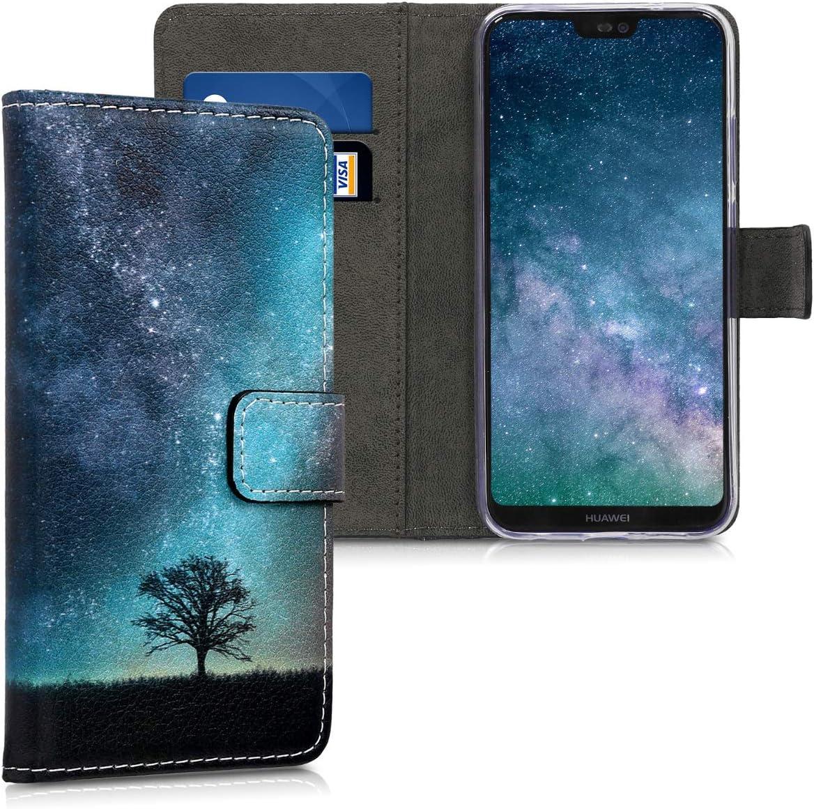 kwmobile Etui Housse Coque Portefeuille Compatible Huawei P20 Lite - Etui Folio Simili Cuir - Cosmic Nature Bleu/Gris/Noir