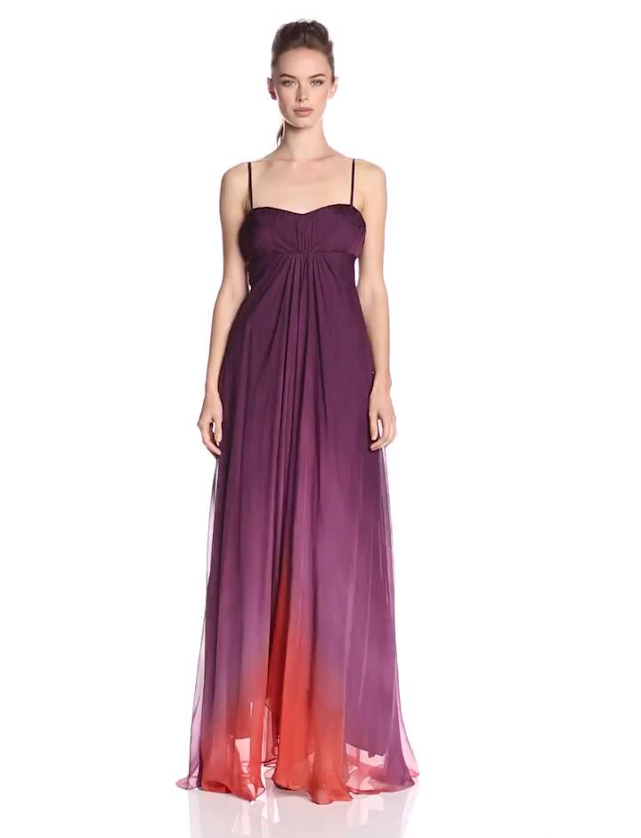 Amazon.com: JS Collection Women\'s Spaghetti Straps Ombre Silk ...