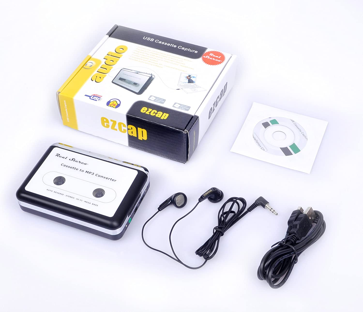 Portable Super USB Cassette Capture, Cassette to MP3 Converter, Cassette Tape-to-MP3 to PC Player with Headphones, Auto-Reverse Function, with Software, ...