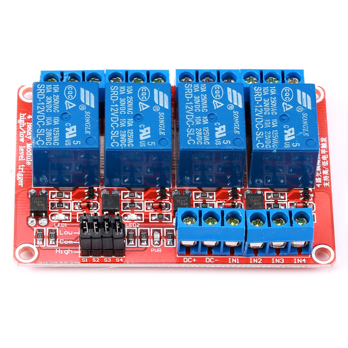 Geree 4 Channel Relay Module Dc 12v With Optocoupler H L Current Balance Level Triger For Arduino Home Audio Theater