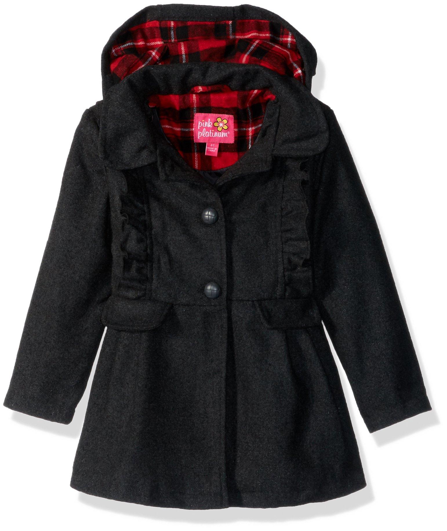 Pink Platinum Little Girls' Ruffles Wool Jacket, Charcoal, 5/6