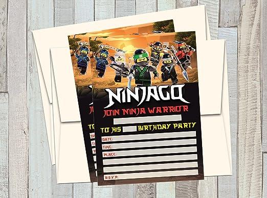 12 Movie Ninjago de Lego - Invitaciones de cumpleaños (12 5 ...