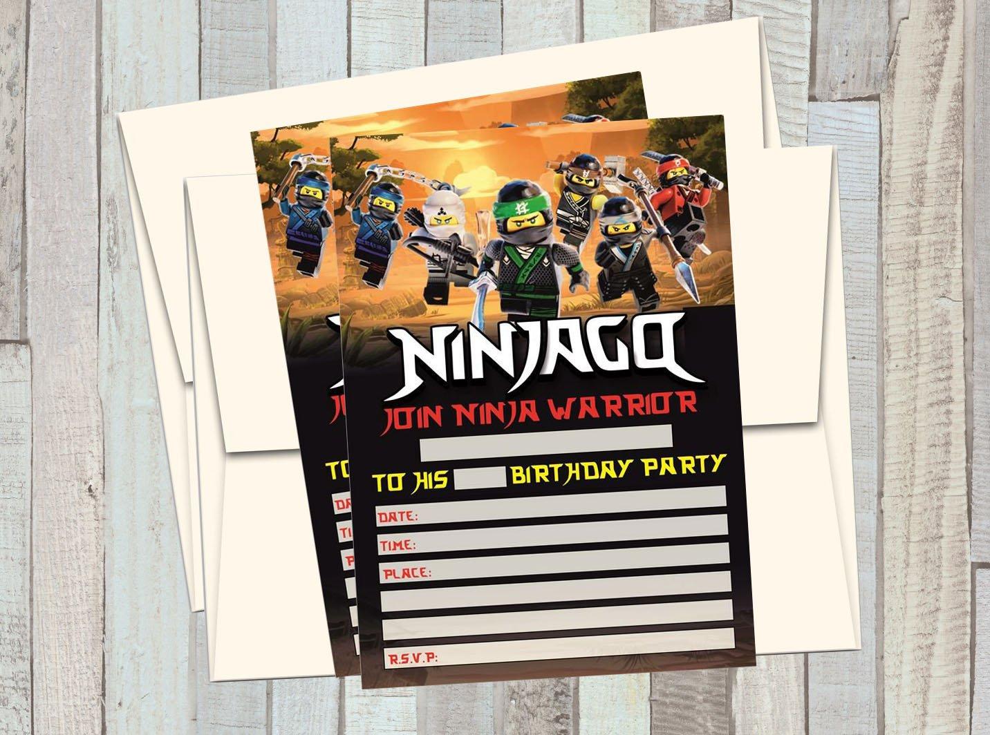 12 Ninjago Movie - Birthday Invitations (12 5x7in Cards, 12 Matching White envelopes)
