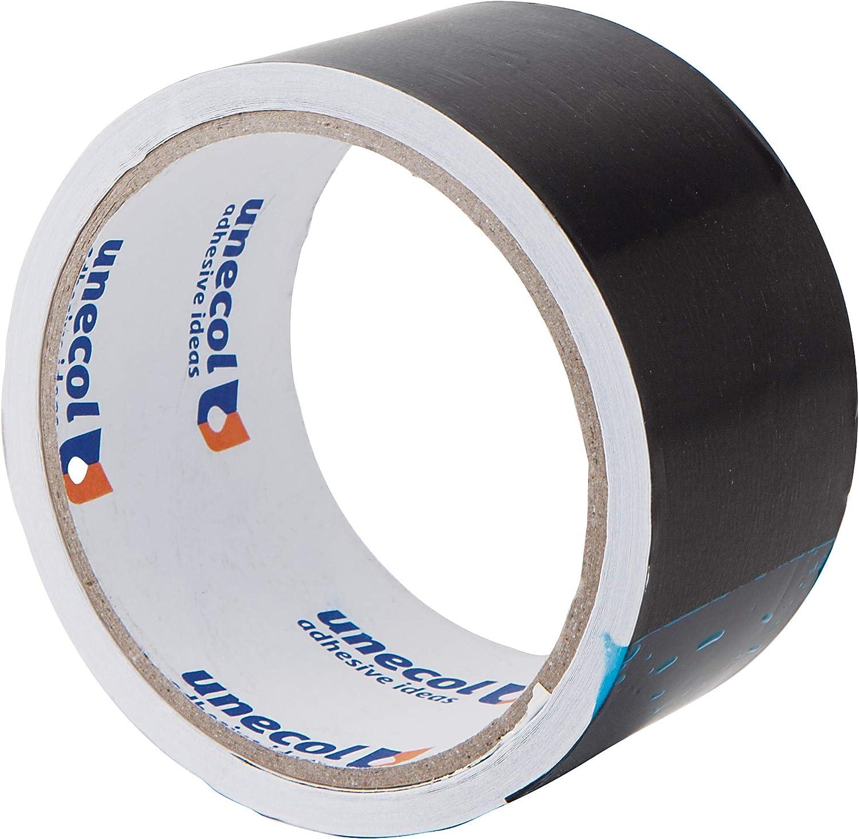 Unecol Cinta Aluminio Negra, Rollo 10 m x 50 mm, 30 Micras