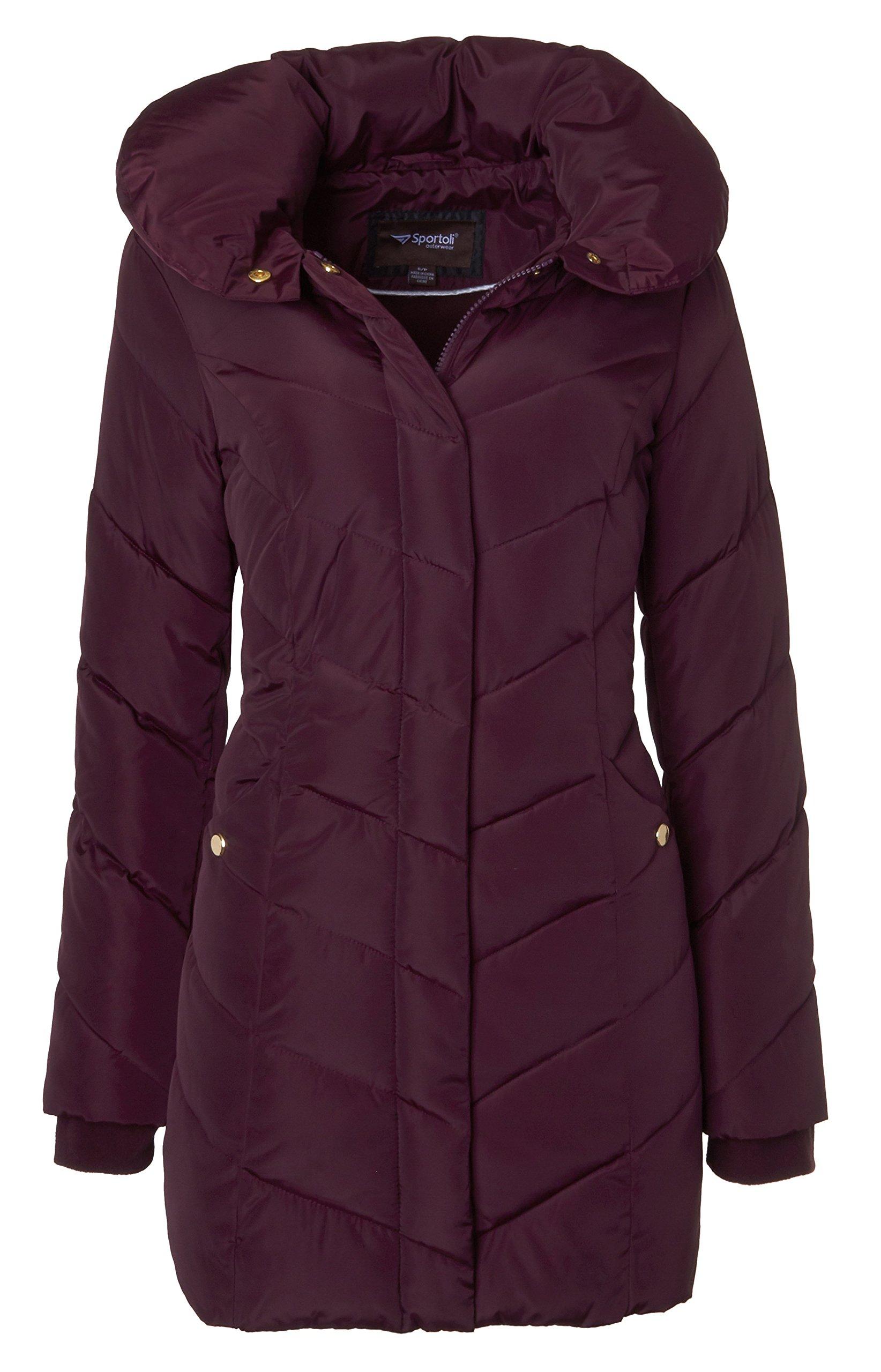 Sportoli Womens Winter Fleece Lined Chevron Quilted Puffer Jacket Coat with Hood - Merlot (Size X-Large)