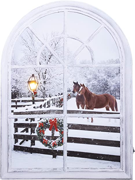 Oak Street Christmas Horse Window Frame Led Art 15 X11 Canvas Light Up Picture Posters Prints