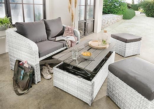 Destiny Lounge Jersey II - Juego de muebles de jardín (4 piezas, polirratán), color blanco: Amazon.es: Jardín