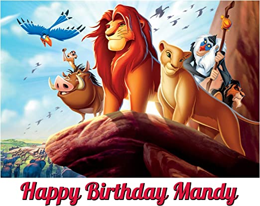 Admirable Amazon Com Lion King Image Photo Cake Topper Sheet Personalized Funny Birthday Cards Online Barepcheapnameinfo