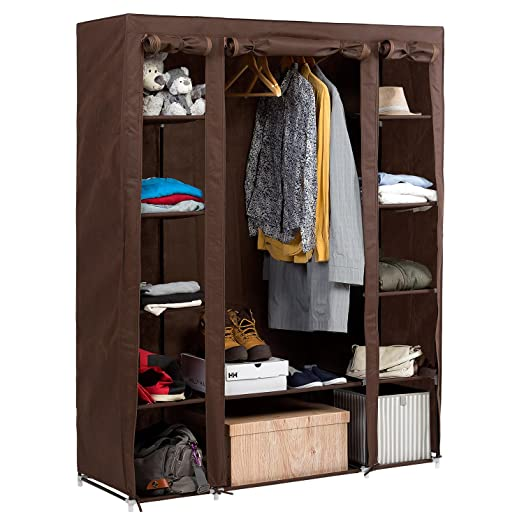 artmoon montana big foldable wardrobe bedroom furniture hanging clothes rail 12 shelves and shoe shelf
