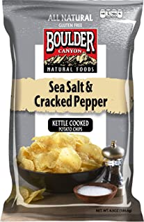 product image for Boulder Canyon Kettle Cooked Potato Chips, Sea Salt & Cracked Pepper, 5 Ounce (Pack of 12)