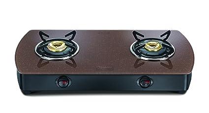 Prestige Premia Glass 2 Burner Contemporary Gas Stove, Brown