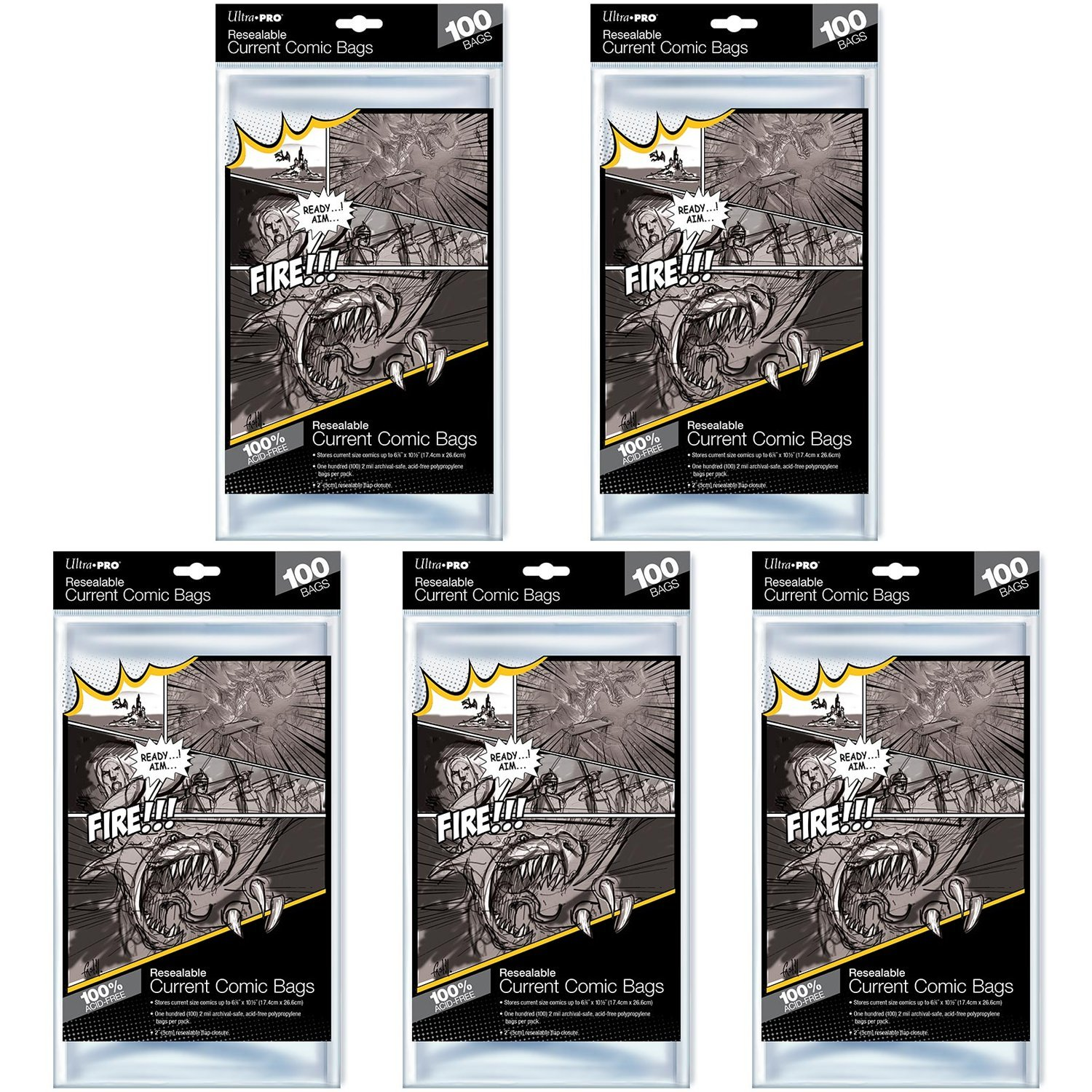 Ultra Pro Resealable Current Size Comic Bags 2-Mil Polypropylene 6-7/8 X 10½ Inches (500-Count)