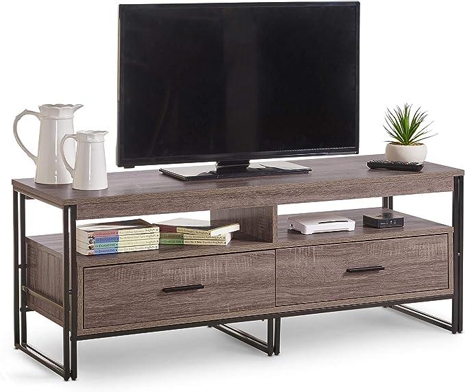 VonHaus - Mueble rústico para TV (120 cm, con 2 cajones), diseño industrial moderno, efecto madera, para TV, consola de almacenamiento, unidad de medios de comunicación, centro de entretenimiento, sala de estar