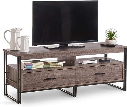 VonHaus - Mueble rústico para TV (120 cm, con 2 cajones), diseño industrial moderno, efecto madera, para