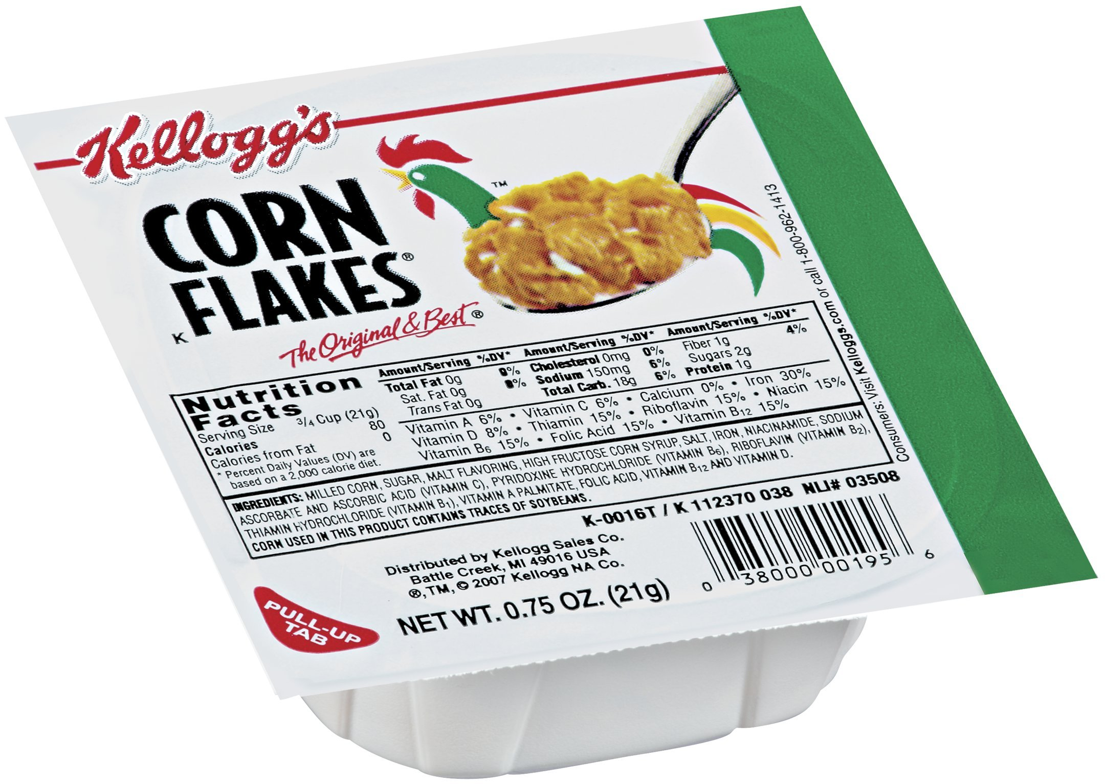 Kellogg's Corn Flakes, Breakfast Cereal, Original, .75oz (96 Count)