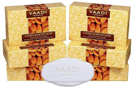 Vaadi Herbals Lavish Almond Soap Cleanses Skin Keep Your Skin Soft 75g Pack Of 6 Bar Soaps Bath & Body