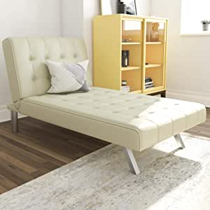 Amazon Com Dhp Emily Chaise Lounger With Chrome Legs Vanilla Faux Leather Furniture Decor