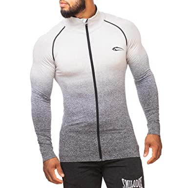 295eb48e0489 SMILODOX Herren Slim Fit Jacke 'Easily' | Slim Fit Laufjacke für Herren |  Ideal für Sport & Outdoor | Farbverlauf | Kragen | Hoodie | Gym & Fitness:  ...