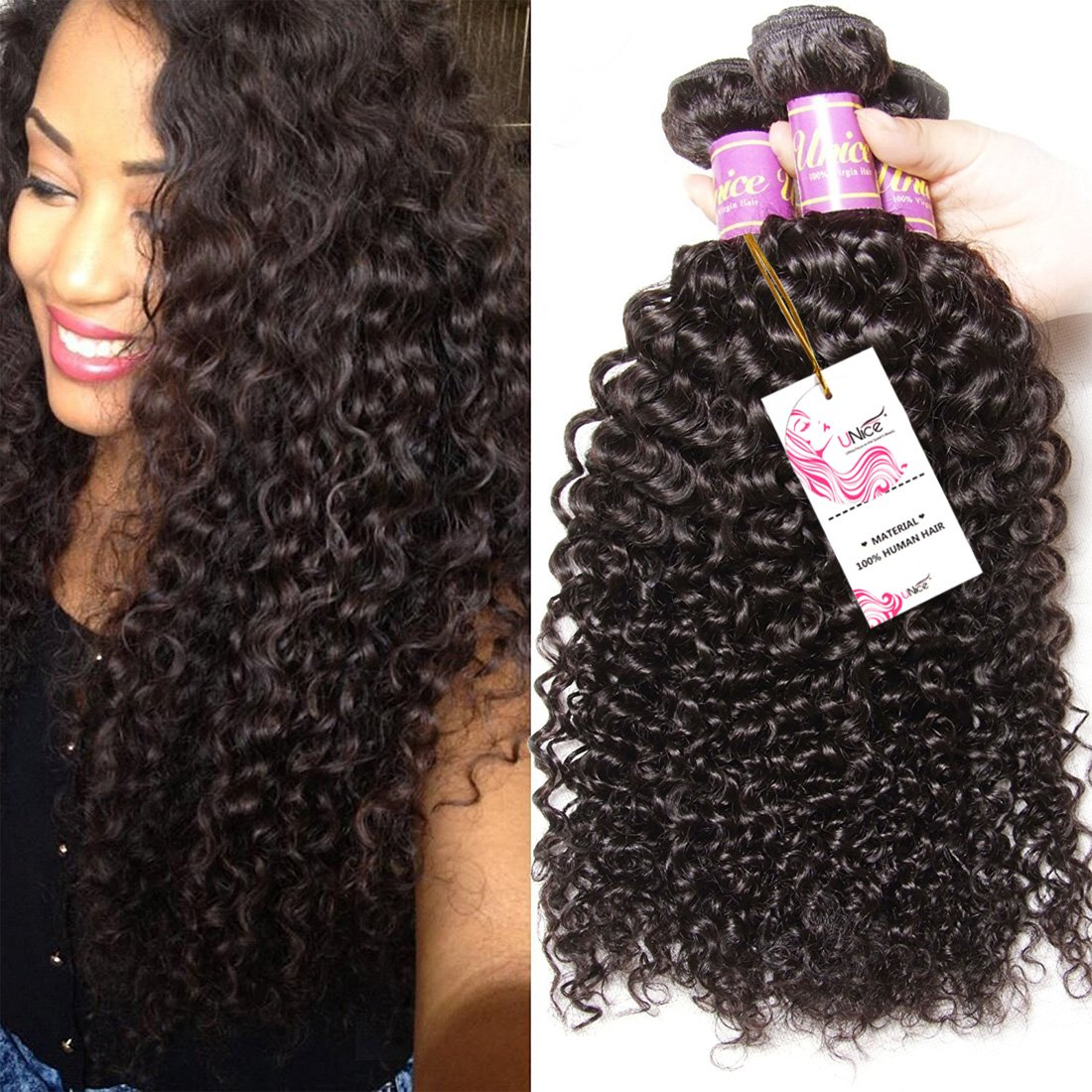 3 Bundles Brazilian Curly Virgin Hair Weave Unprocessed Human Hair Extensions Natural Color Can Be Dyed and Bleached Tangle Free (18 20 22inches)