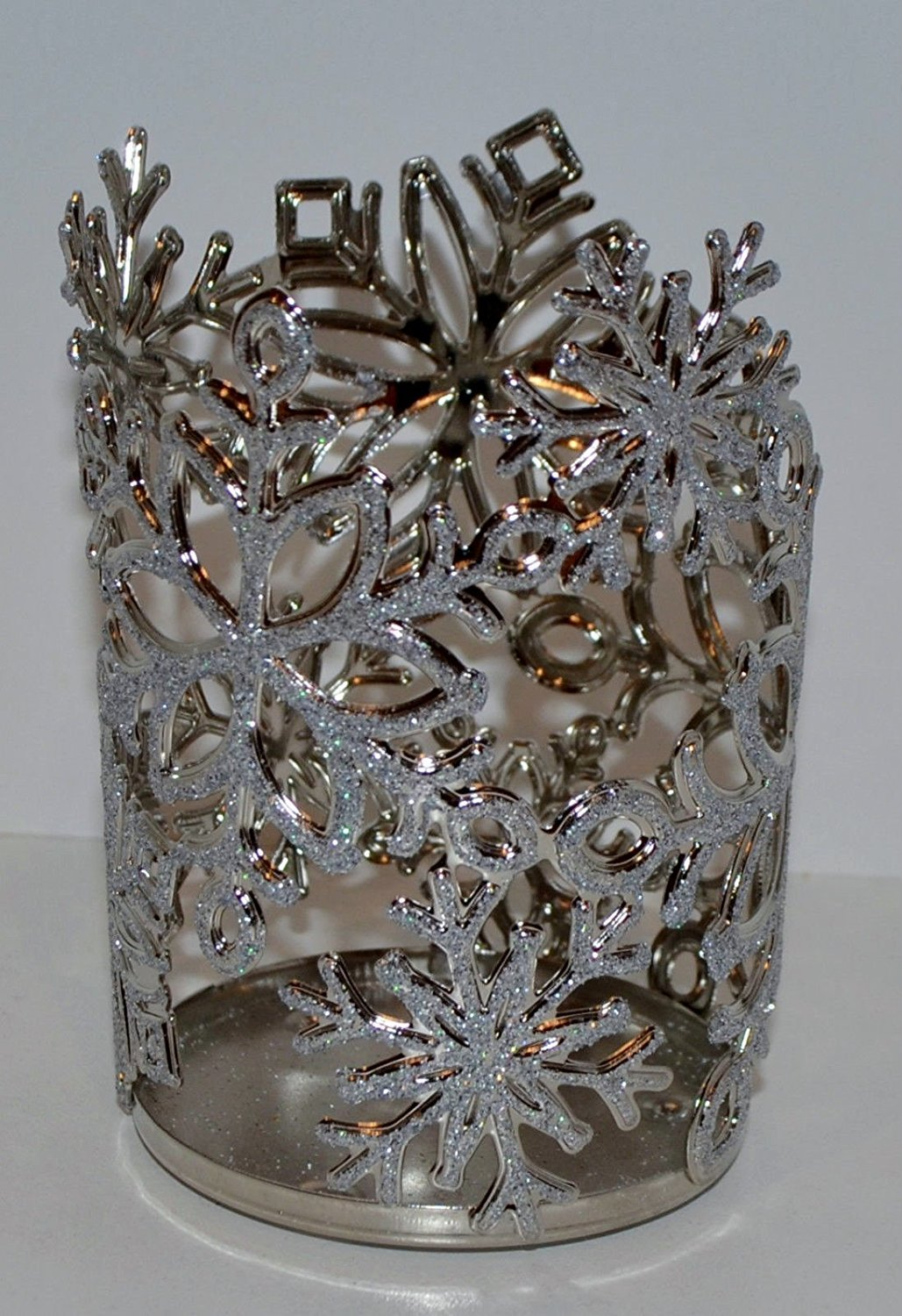 Sparkling Glittery Snowflakes Sleeve Silver Medium Candle Holder