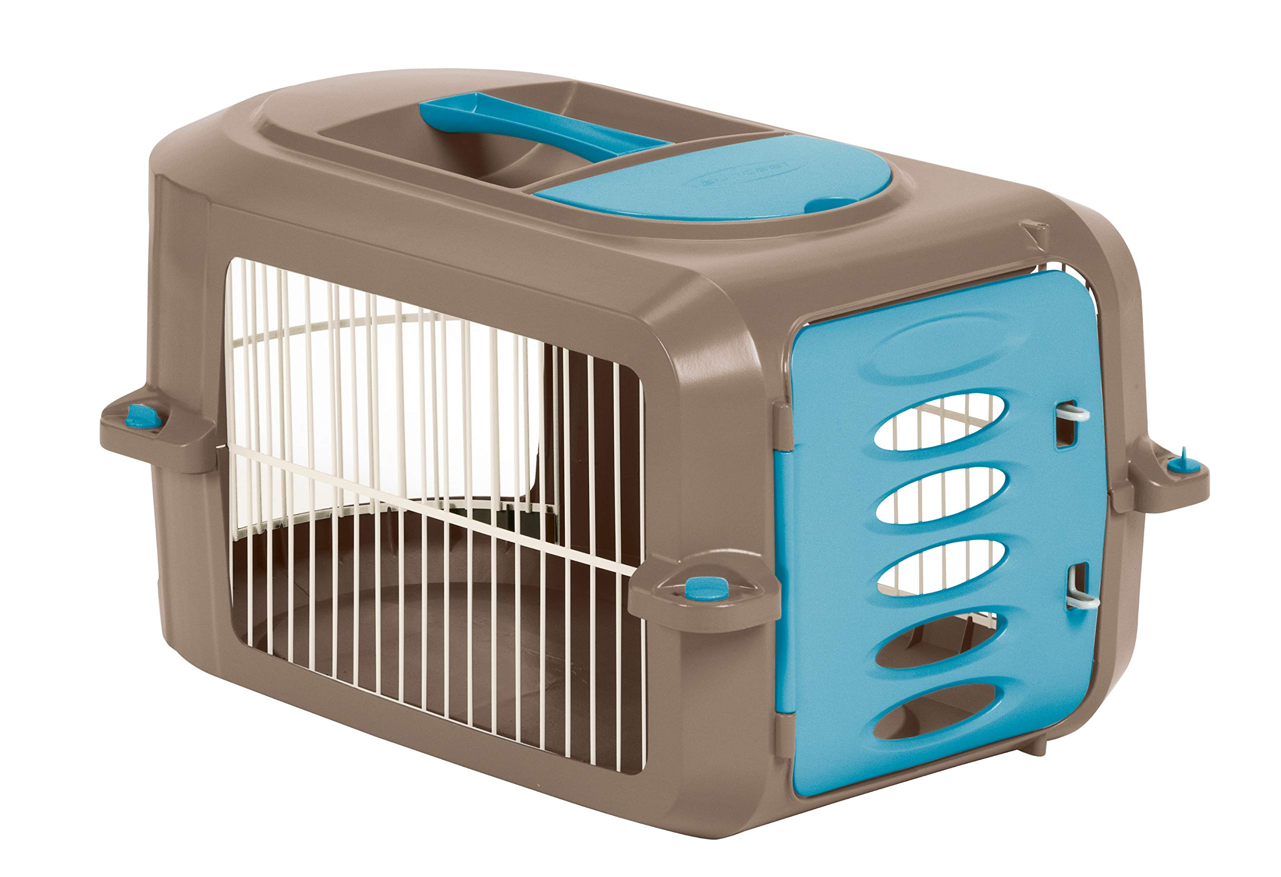 Suncast Portable Dog Crate with Handle for Small and Medium Dogs - Bowl Included - Stylish and Durable Portable Pet Carrier - Dogs up to 30 lbs. - Brown and Light Blue by Suncast
