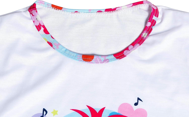 LQSZ Girls Pajama Trolls World Tour Pajama Poppy and Branch Shortsleeve Pajama Princess Nightgowns Causal Dress