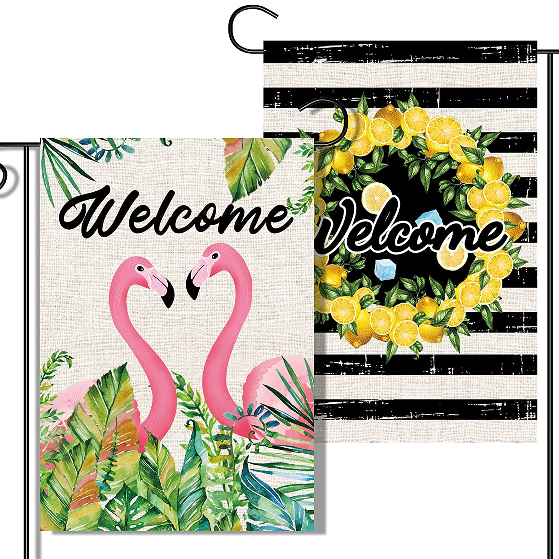 2 Pcs Double-Sided Summer Garden Flags, Lemon Welcome Garden Flag Black Stripe with wreath, Heart-Shape Flamingo Art Banner, Burlap Deck Patio Porch Lawn Yard Sign Outdoor Decor