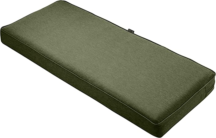 Classic Accessories Montlake Water-Resistant 42 x 18 x 3 Inch Outdoor Bench/Settee Cushion, Patio Furniture Swing Cushion, Heather Fern Green