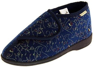 63125defc6b7b Dunlop Orthopédique Pantoufles De Fixation Velcro Femmes EU 36 Bleu Marine