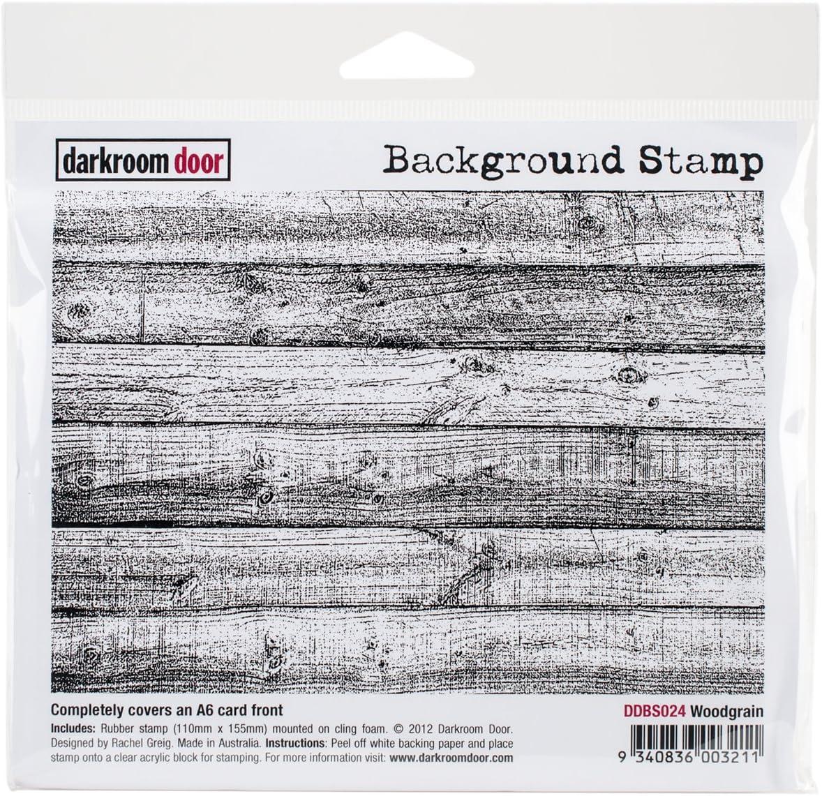 Darkroom Door Background Cling Stamp 4x6-Woodgrain